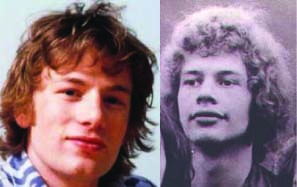 Renown drummer Jamie Oliver (l) and global chef Bill Bruford (r), er... Oliver photo credit: anonymous, Bruford photo used with permission.